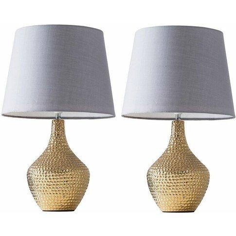 2 X Metallic Gold Indent Textured Ceramic Table Lamp...
