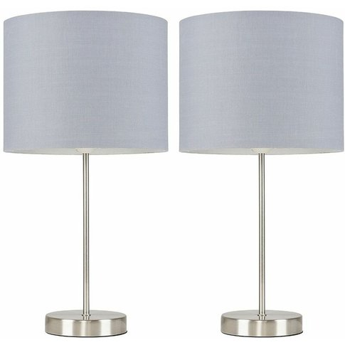 2 X Table Lamps In Brushed Chrome + Shade 4w Led Can...