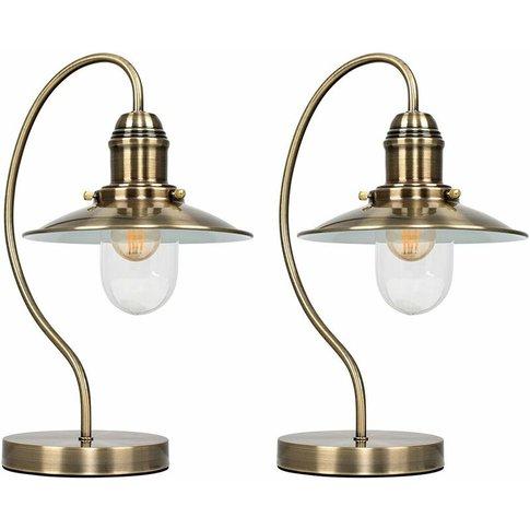 2 X Vintage Antique Brass Metal & Glass Lantern Touc...