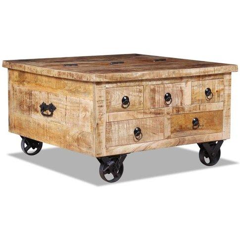 Coffee Table Rough Mango Wood 70x70x40 Cm - Vidaxl