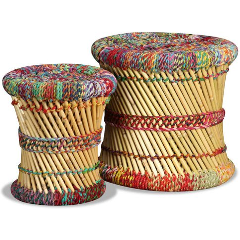 Stools With Chindi Details 2 Pcs Multicolour Bamboo ...