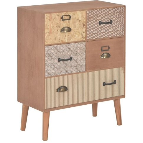 Sideboard With 5 Drawers Brown 60x30x78 Cm Mdf - Vidaxl