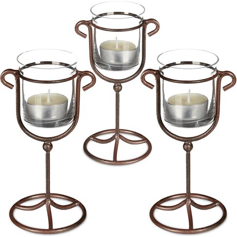 3 X Cast Iron Candle Holder, Single Candle Stand Met...