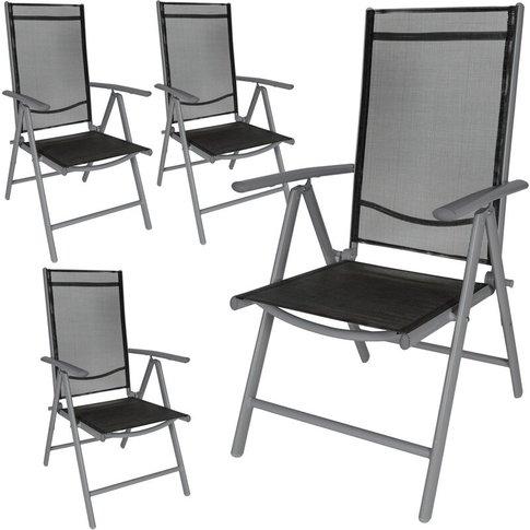 Tectake - 4 Aluminium Garden Chairs - Reclining Garden Chairs, Garden Recliners, Outdoor Chairs - Black/Anthracite
