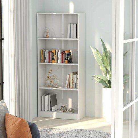 Youthup - 4-Tier Book Cabinet High Gloss White 60x24...
