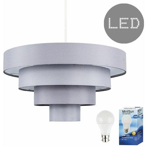 4 Tier Grey Fabric Ceiling Pendant Light Shade - 10w...
