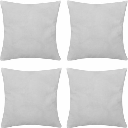 4 White Cushion Covers Cotton 80 X 80 Cm - Youthup