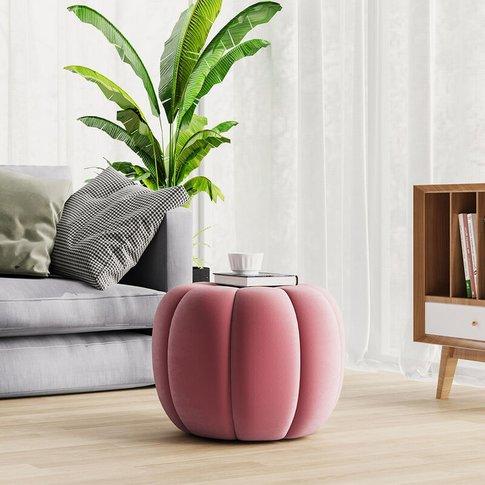 45cm Spandex Velvet Pumpkin Shape Footstool, Pink - ...