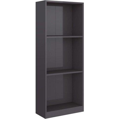Vidaxl - 3-Tier Book Cabinet 40x24x108 Cm Chipboard High Gloss Grey