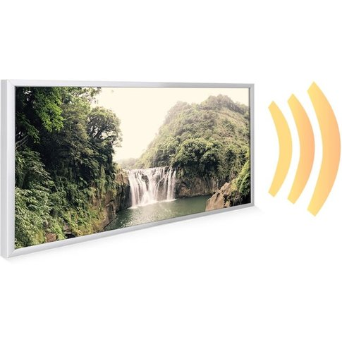 595x1195 Forest Waterfall Nxt Gen Infrared Heating Panel 700w - Frame Colour: White Aluminium - Mirrorstone Heating
