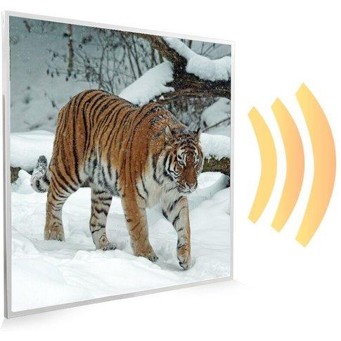 595x595 Siberian Tiger Nxt Gen Infrared Heating Panel 350w - Frame Colour: White Aluminium - Mirrorstone Heating