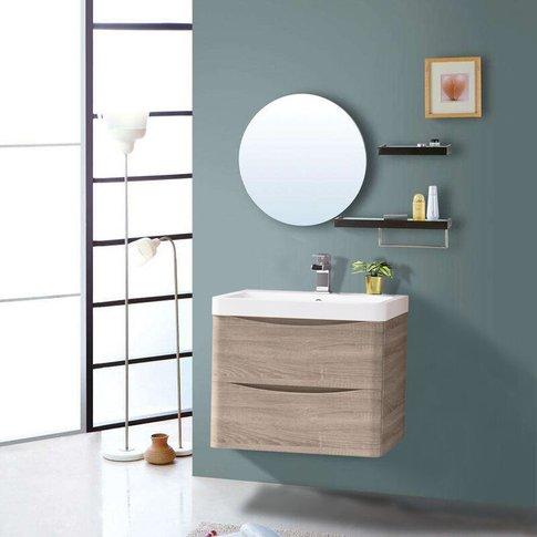 600mm Light Oak Effect 2 Drawer Wall Hung Bathroom C...