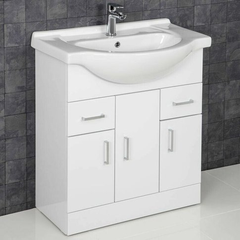 Bathroom Vanity Unit Basin Tap + Waste Gloss White F...