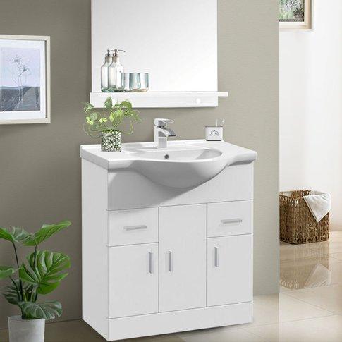 750mm White Basin Vanity Unit Sink Cabinet Bathroom ...