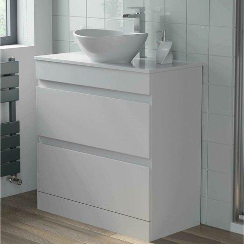 800mm Bathroom Furniture Countertop Vanity Unit Oval...