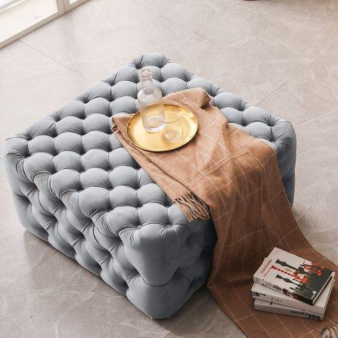 82cm Square Frosted Velvet Buttoned Footstool, Light...