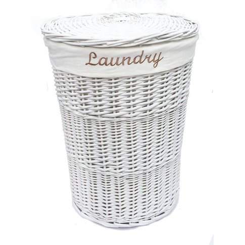 Wicker Round Laundry Basket With Lining [White Laund...