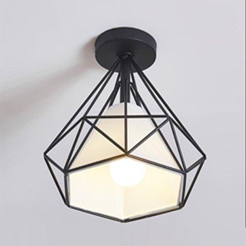 Antique Ceiling Light 25cm Diamond Industrial Ceilin...