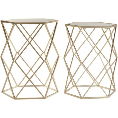 Arcana Side Tables, Mirror Top / Champagne Steel, Hexagonal / Set Of 2 - Big Living