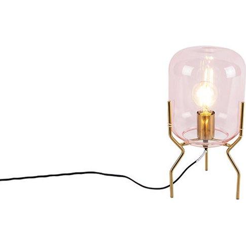 Art Deco Table Lamp Brass Pink Glass - Bliss - Qazqa