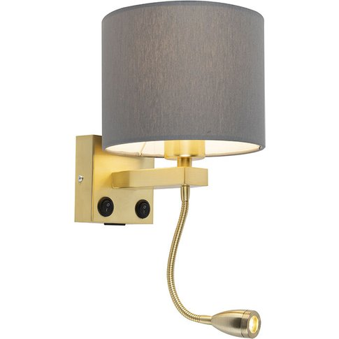 Art Deco Wall Lamp Gold With Usb And Gray Shade - Br...