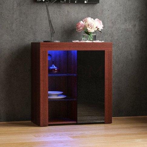 Azura 1 Door Led Sideboard, Walnut & Black - Home Di...