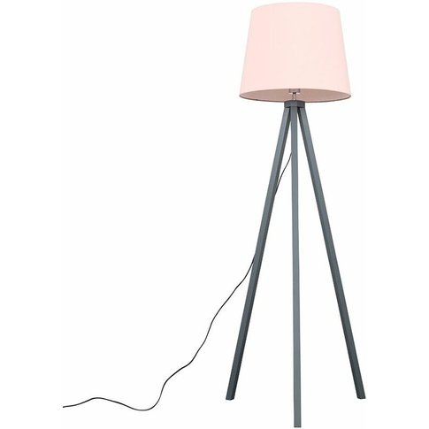 Barbro Grey Wood Tripod Floor Lamp - Pink - Minisun