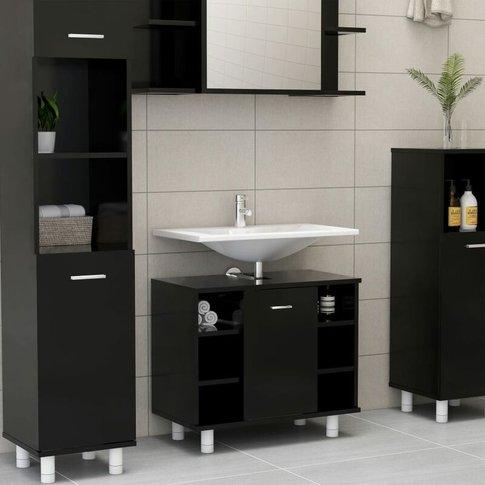 Bathroom Cabinet Black 60x32x53.5 Cm Chipboard - You...