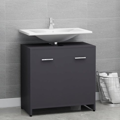 Bathroom Cabinet Grey 60x33x58 Cm Chipboard - Youthup