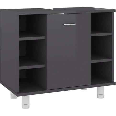 Bathroom Cabinet High Gloss Grey 60x32x53.5 Cm Chipb...