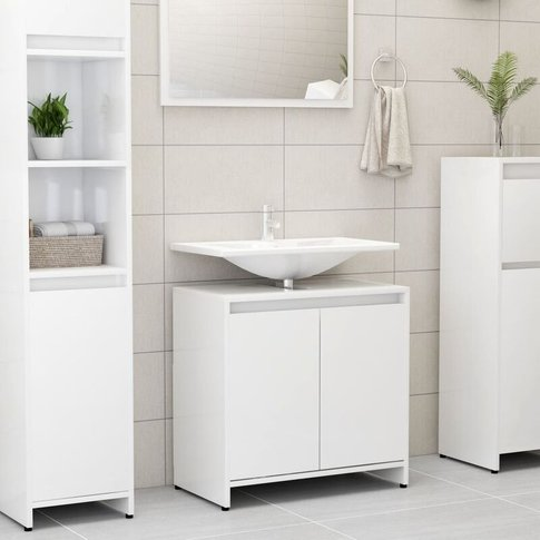 Bathroom Cabinet High Gloss White 60x33x58 Cm Chipboard - Youthup