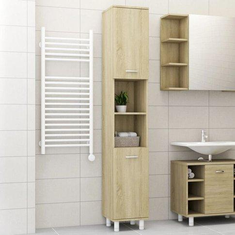 Bathroom Cabinet Sonoma Oak 30x30x179 Cm Chipboard -...