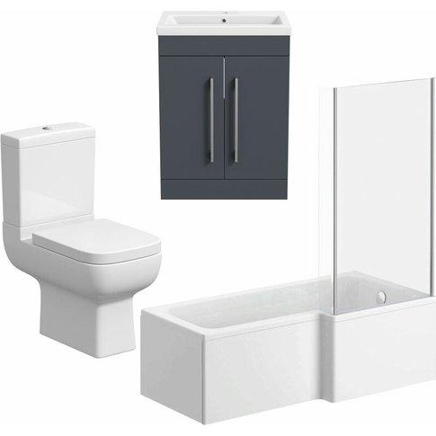Bathroom Suite Vanity Unit L Shape Bath And Close Co...