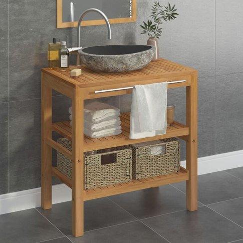 Bathroom Vanity Cabinet Solid Teak With Riverstone S...