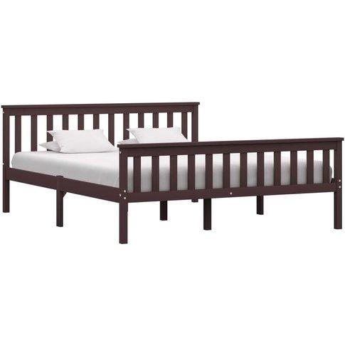 Bed Frame Dark Brown Solid Pinewood 150 X 200 Cm - V...