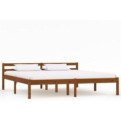 Bed Frame Honey Brown Solid Pine Wood 160x200 Cm - Y...