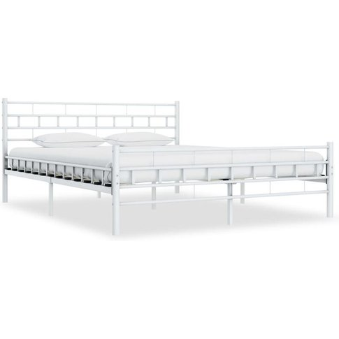 Bed Frame White Metal 140x200 Cm - Youthup
