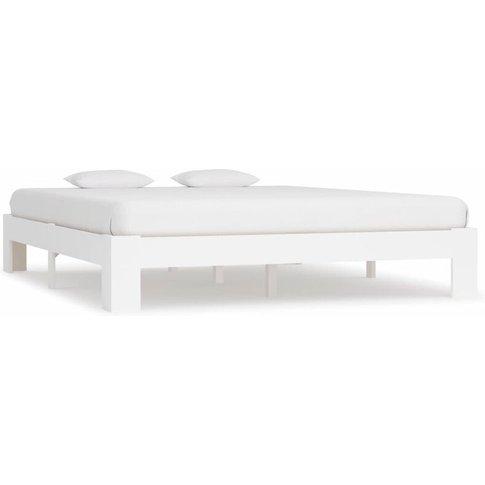 Bed Frame White Solid Pine Wood 180x200 Cm 6ft Super...