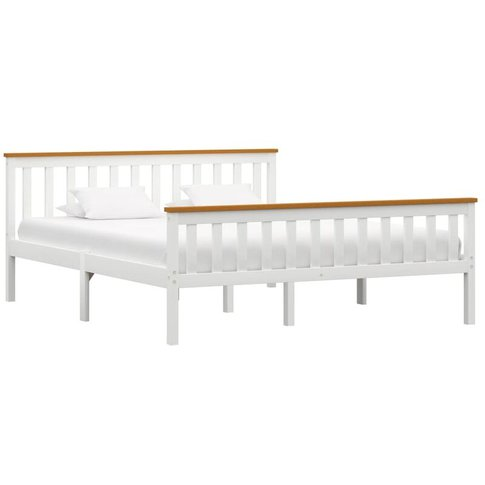 Bed Frame White Solid Pinewood 150 X 200 Cm - Vidaxl