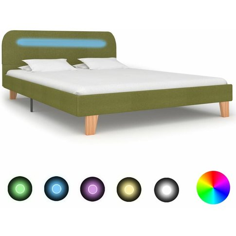 Bed Frame With Led Green Fabric 135x190 Cm - Youthup