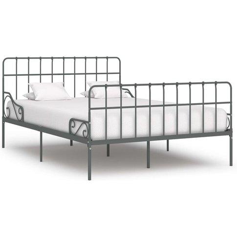 Bed Frame With Slatted Base Metal 160x200 Cm Grey - ...