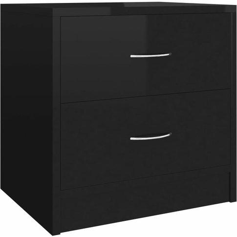 Bedside Cabinet 40x30x40 Cm Chipboard High Gloss Bla...