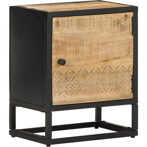 Bedside Cabinet With Carved Door 40x30x50 Cm Rough M...
