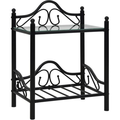 Vidaxl - Bedside Table Steel And Tempered Glass 45x3...