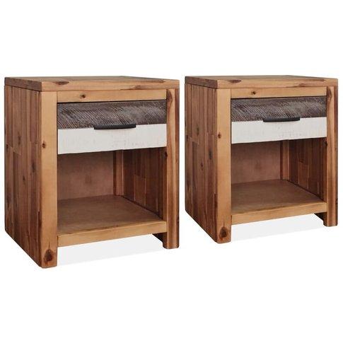 Bedside Tables 2 Pcs Solid Acacia Wood 40x30x48 Cm -...