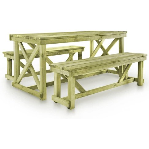 Beer Table With 2 Benches Wood - Youthup