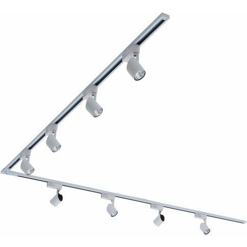 4m (2 X 2m) White Single Circuit Led Track Light Kit With 6 X 7w Lights - Natural White - Kitchen, Office, Shop Display & Retail Lighting - Biard