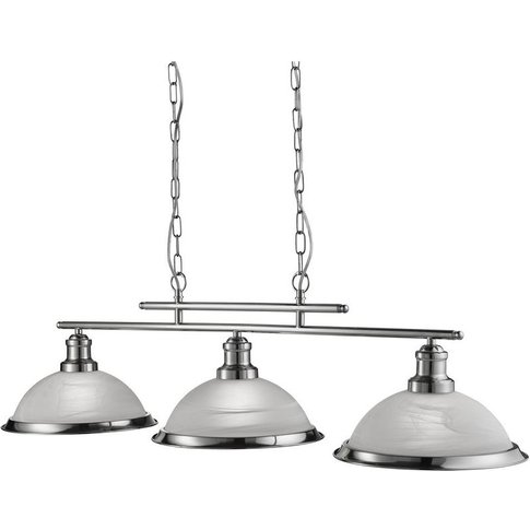Bistro 3 Light Industrial Ceiling Bar, Satin Silver,...