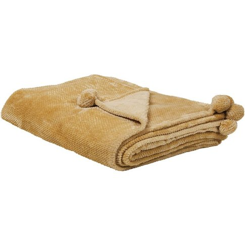 Blanket 150 X 200 Cm Yellow Saitler - Beliani