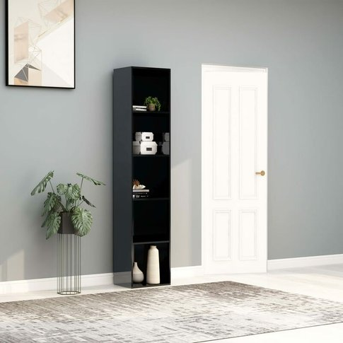 Youthup - Book Cabinet High Gloss Grey 40x30x189 Cm ...